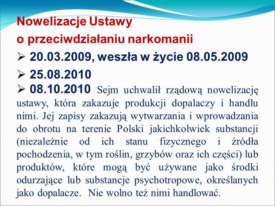 Nowelizacje Ustawy o przeciwdziałaniu narkomanii 20.03.2009, weszła w życie 08.05.2009 25.08.2010 08.10.2010 Sejm uchwalił rządową nowelizację ustawy,