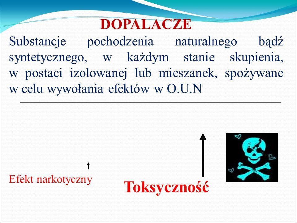 DOPALACZE Substancje pochodzenia naturalnego bądź syntetycznego, w każdym stanie skupienia, w postaci izolowanej lub mieszanek, spożywane w celu wywoł