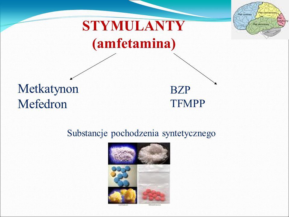 STYMULANTY (amfetamina) Metkatynon Mefedron BZP TFMPP Substancje pochodzenia syntetycznego