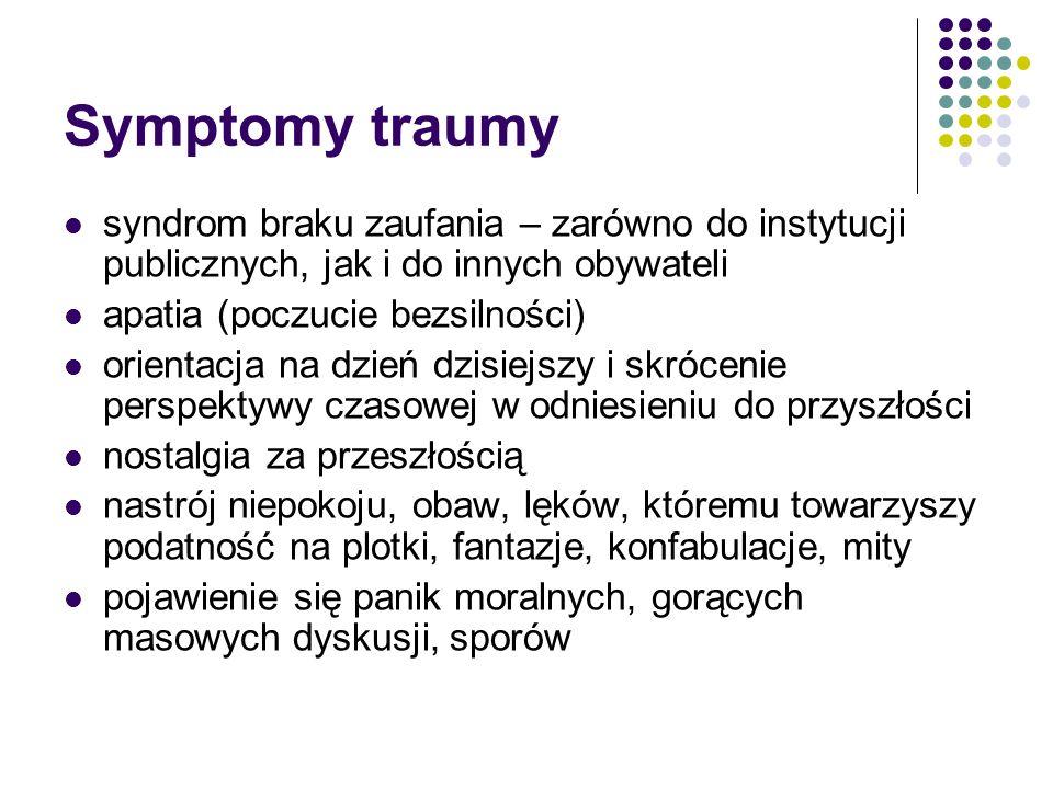 Symptomy traumy syndrom braku zaufania – zarówno do instytucji publicznych, jak i do innych obywateli apatia (poczucie bezsilności) orientacja na dzie