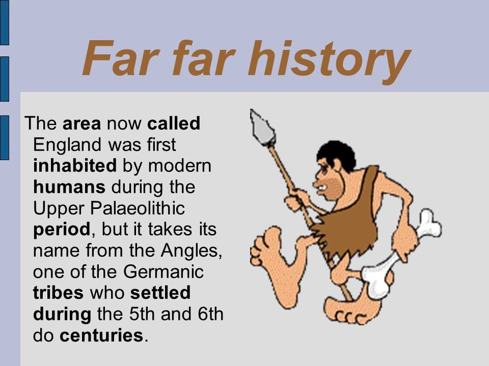 The area now called England was first inhabited by modern humans during the Upper Palaeolithic period, but it takes its name from the Angles, one of t