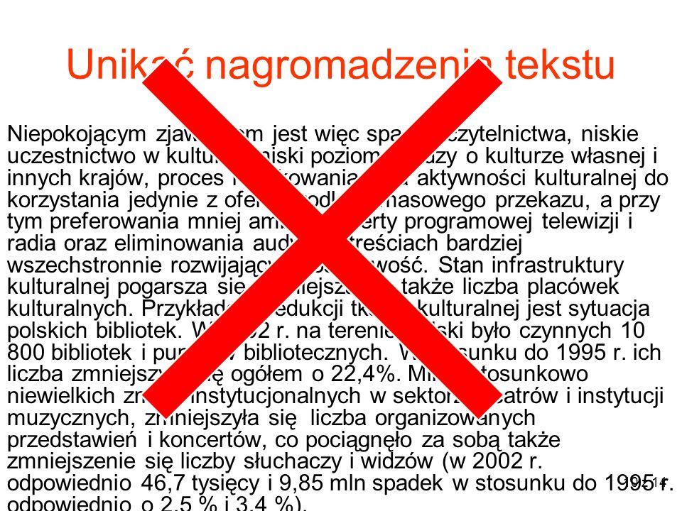 11 z 14 Prelegent NIE MOŻE czytać tekstu z ekranu!!!!