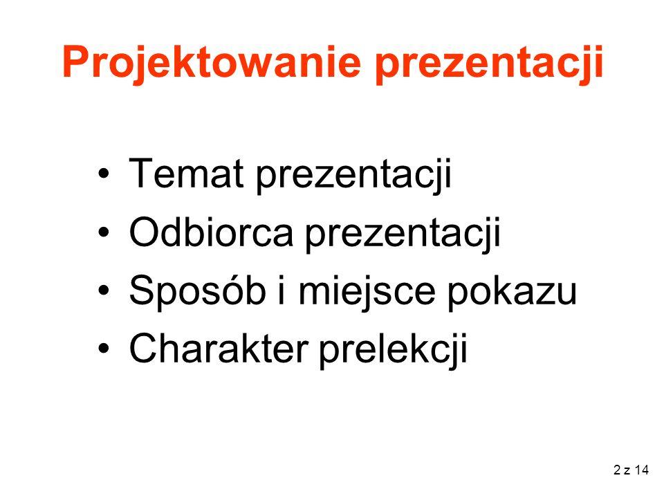 2 z 14 Projektowanie prezentacji Temat prezentacji Odbiorca prezentacji Sposób i miejsce pokazu Charakter prelekcji