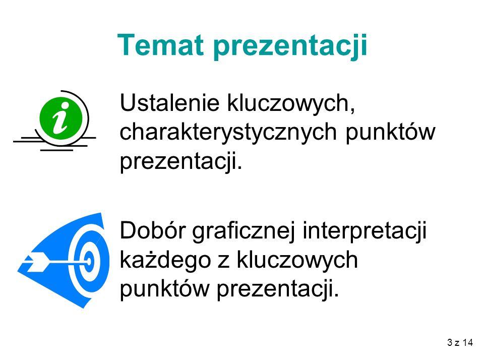 3 z 14 Temat prezentacji Ustalenie kluczowych, charakterystycznych punktów prezentacji.