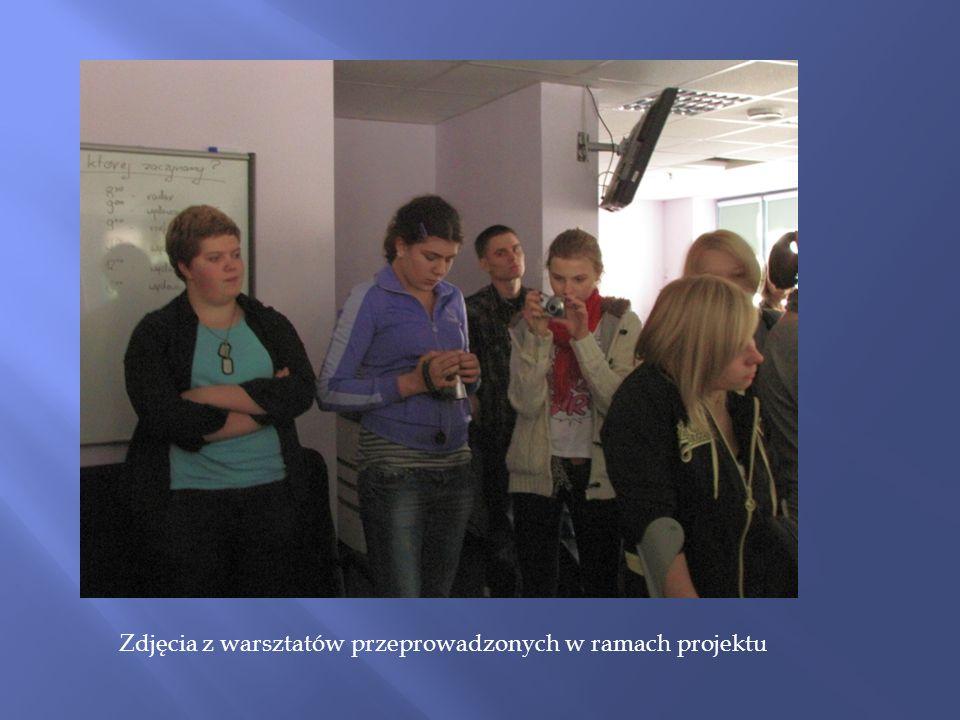 Zdjęcia z warsztatów przeprowadzonych w ramach projektu