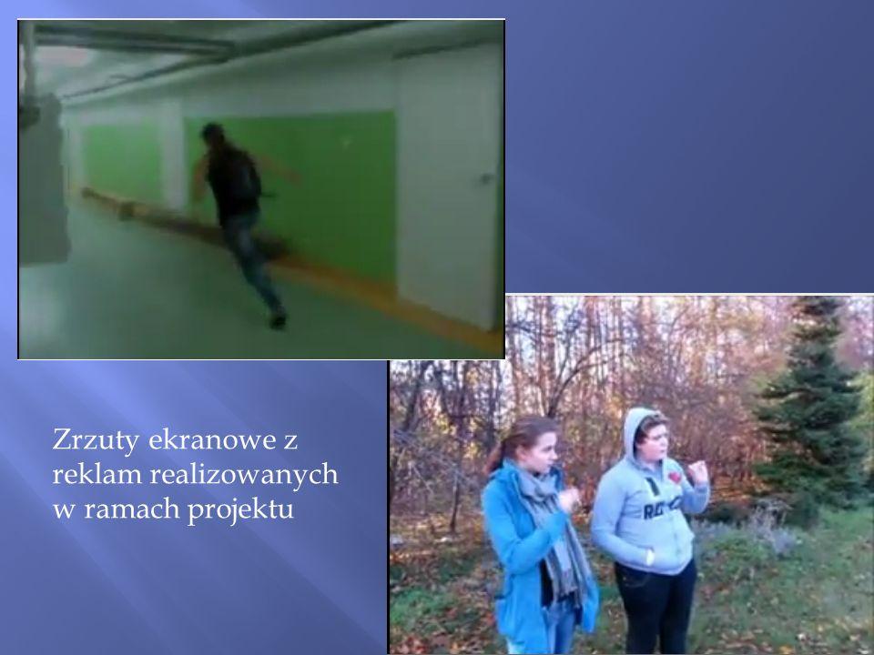 Zrzuty ekranowe z reklam realizowanych w ramach projektu