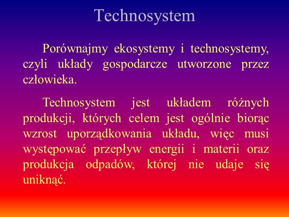Porównajmy ekosystemy i technosystemy, czyli układy gospodarcze utworzone przez człowieka. Technosystem jest układem różnych produkcji, których celem