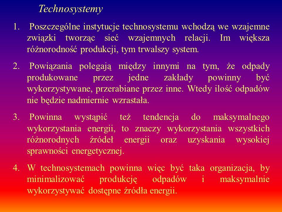 1. Poszczególne instytucje technosystemu wchodzą we wzajemne związki tworząc sieć wzajemnych relacji. Im większa różnorodność produkcji, tym trwalszy
