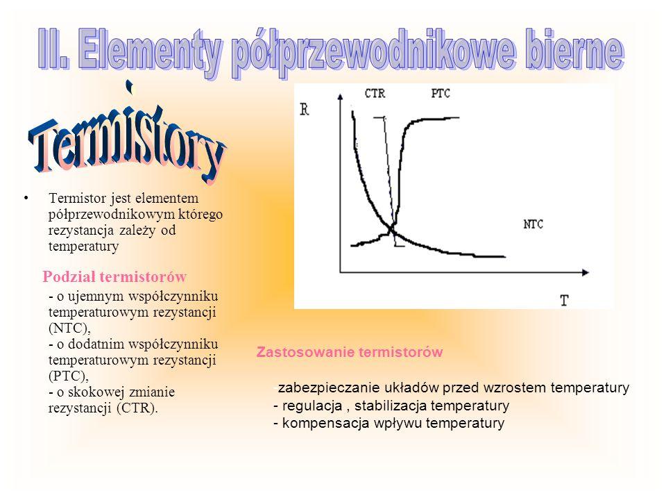 Termistor jest elementem półprzewodnikowym którego rezystancja zależy od temperatury Podział termistorów - o ujemnym współczynniku temperaturowym rezy