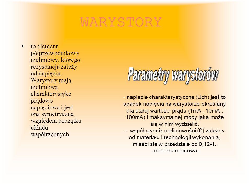 WARYSTORY to element półprzewodnikowy nieliniowy, którego rezystancja zależy od napięcia. Warystory mają nieliniową charakterystykę prądowo napięciową