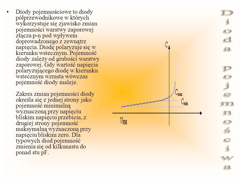 Diody pojemnościowe to diody półprzewodnikowe w których wykorzystuje się zjawisko zmian pojemności warstwy zaporowej złącza p-n pod wpływem doprowadzo