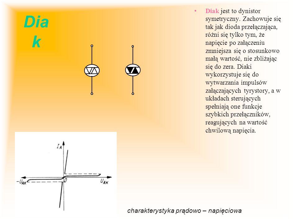 Dia k Diak jest to dynistor symetryczny. Zachowuje się tak jak dioda przełączająca, różni się tylko tym, że napięcie po załączeniu zmniejsza się o sto