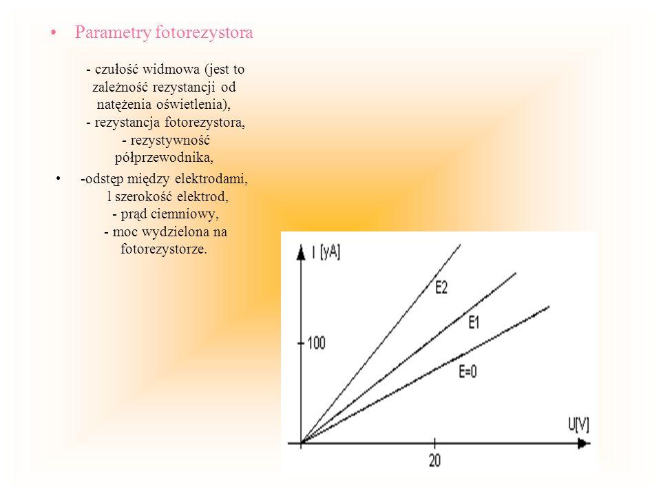 Parametry fotorezystora - czułość widmowa (jest to zależność rezystancji od natężenia oświetlenia), - rezystancja fotorezystora, - rezystywność półprz