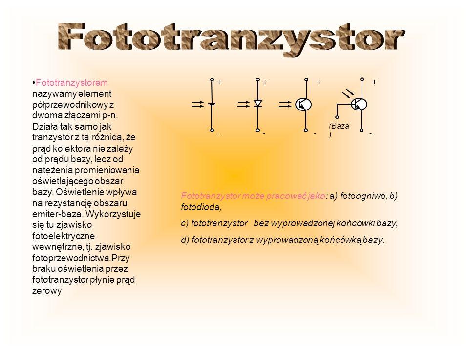 Fototranzystorem nazywamy element półprzewodnikowy z dwoma złączami p-n. Działa tak samo jak tranzystor z tą różnicą, że prąd kolektora nie zależy od