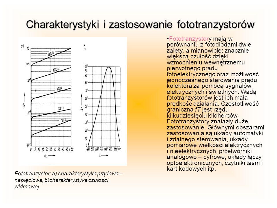 Charakterystyki i zastosowanie fototranzystorów Fototranzystory mają w porównaniu z fotodiodami dwie zalety, a mianowicie: znacznie większą czułość dz