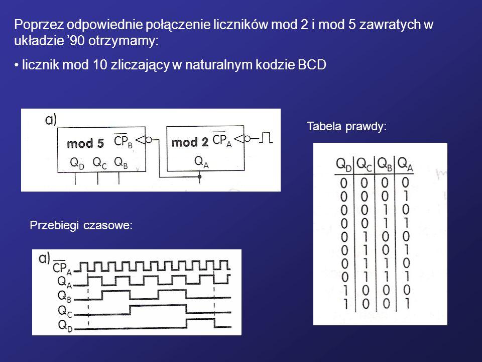 Poprzez odpowiednie połączenie liczników mod 2 i mod 5 zawratych w układzie 90 otrzymamy: licznik mod 10 zliczający w naturalnym kodzie BCD Przebiegi