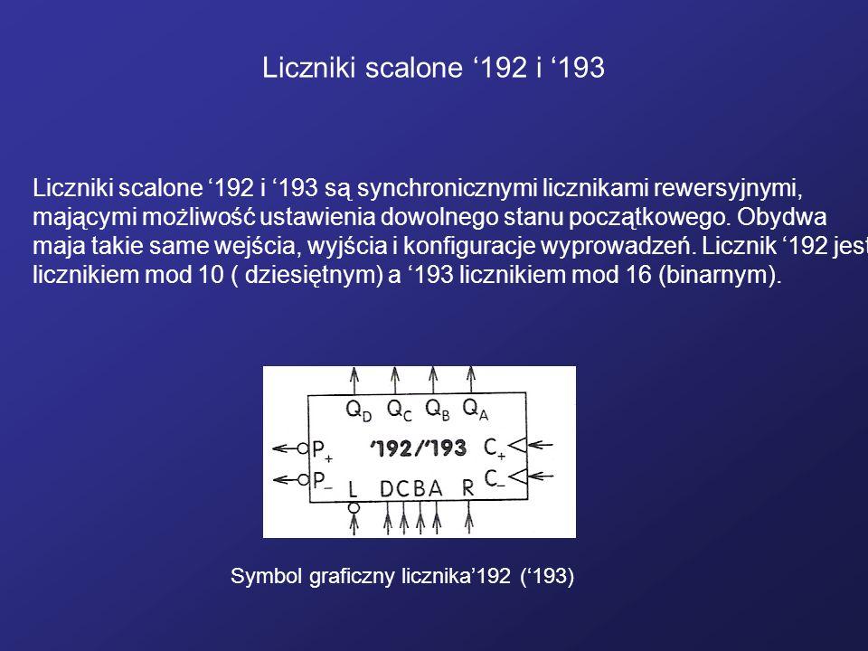Liczniki scalone 192 i 193 Symbol graficzny licznika192 (193) Liczniki scalone 192 i 193 są synchronicznymi licznikami rewersyjnymi, mającymi możliwoś