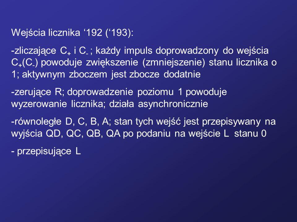 Wejścia licznika 192 (193): -zliczające C + i C - ; każdy impuls doprowadzony do wejścia C + (C - ) powoduje zwiększenie (zmniejszenie) stanu licznika