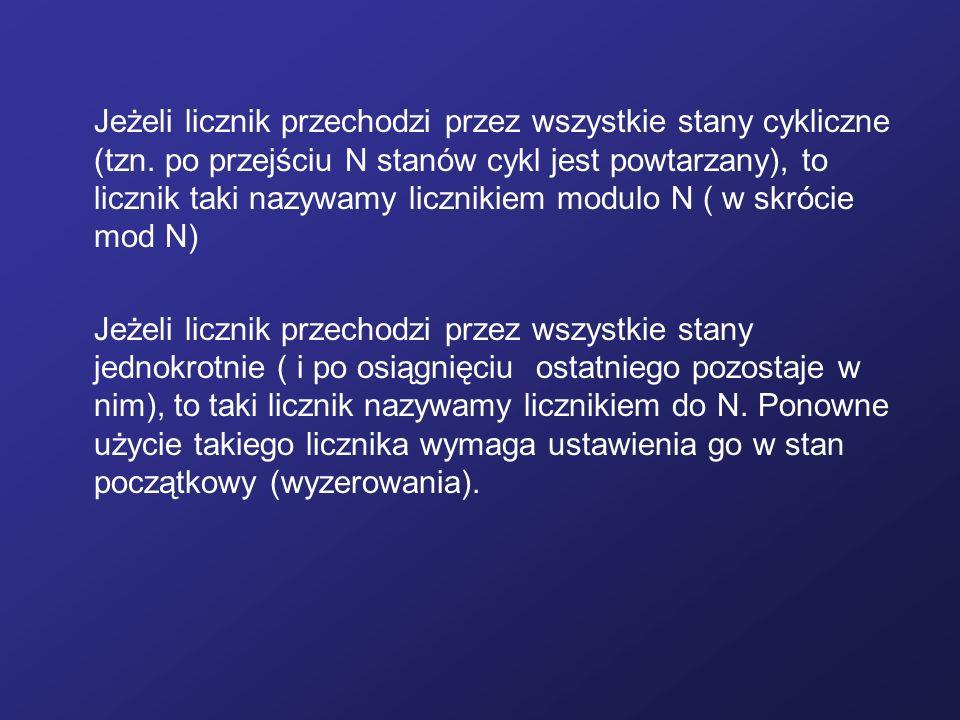Jeżeli licznik przechodzi przez wszystkie stany cykliczne (tzn. po przejściu N stanów cykl jest powtarzany), to licznik taki nazywamy licznikiem modul