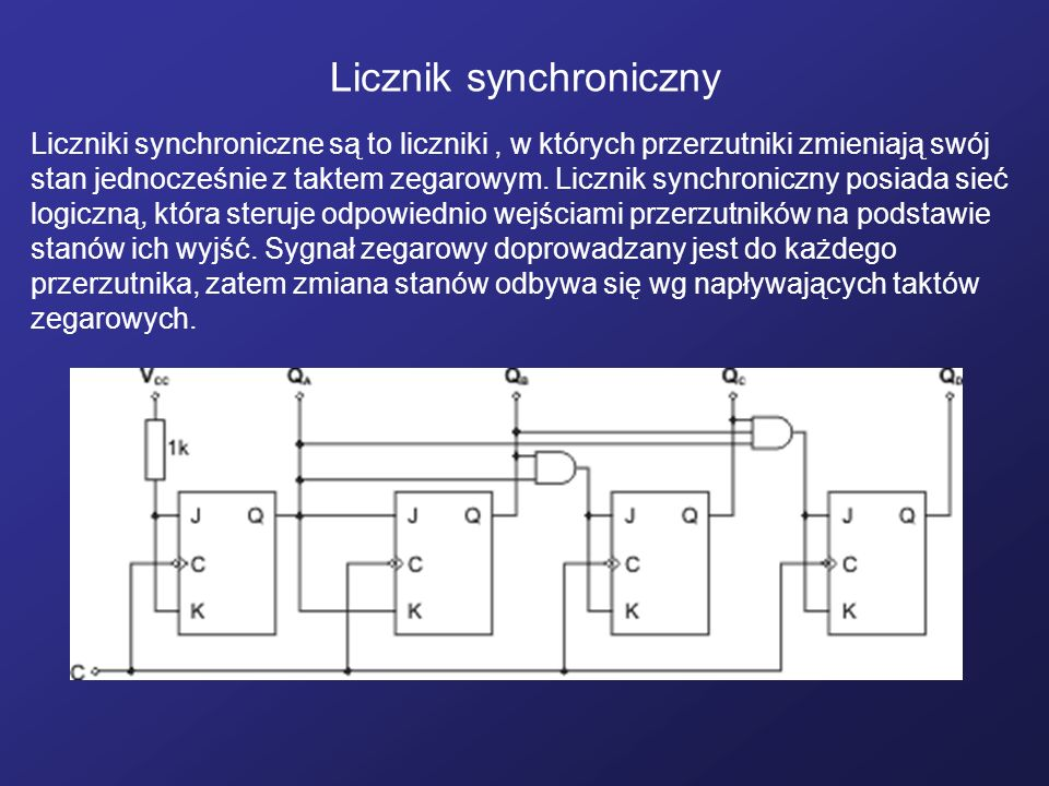 Licznik synchroniczny Liczniki synchroniczne są to liczniki, w których przerzutniki zmieniają swój stan jednocześnie z taktem zegarowym. Licznik synch
