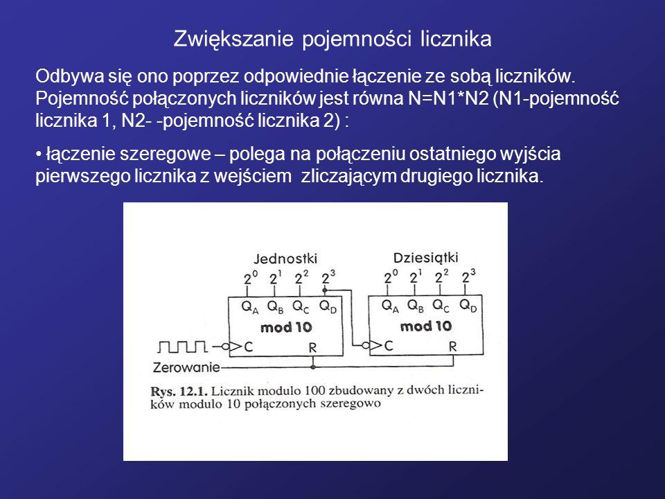 Zwiększanie pojemności licznika Odbywa się ono poprzez odpowiednie łączenie ze sobą liczników. Pojemność połączonych liczników jest równa N=N1*N2 (N1-