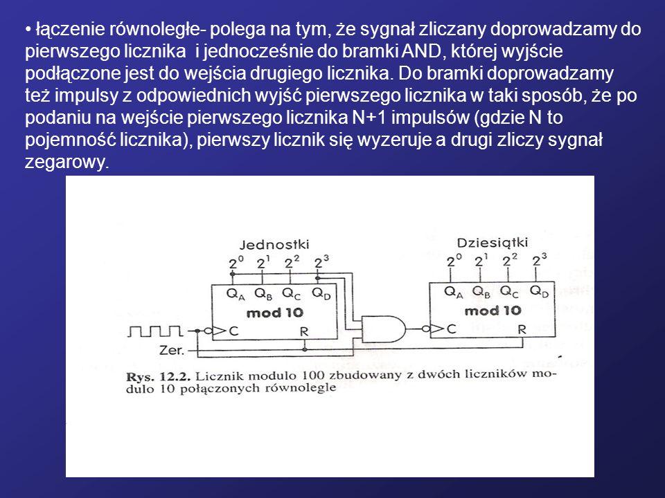łączenie równoległe- polega na tym, że sygnał zliczany doprowadzamy do pierwszego licznika i jednocześnie do bramki AND, której wyjście podłączone jes