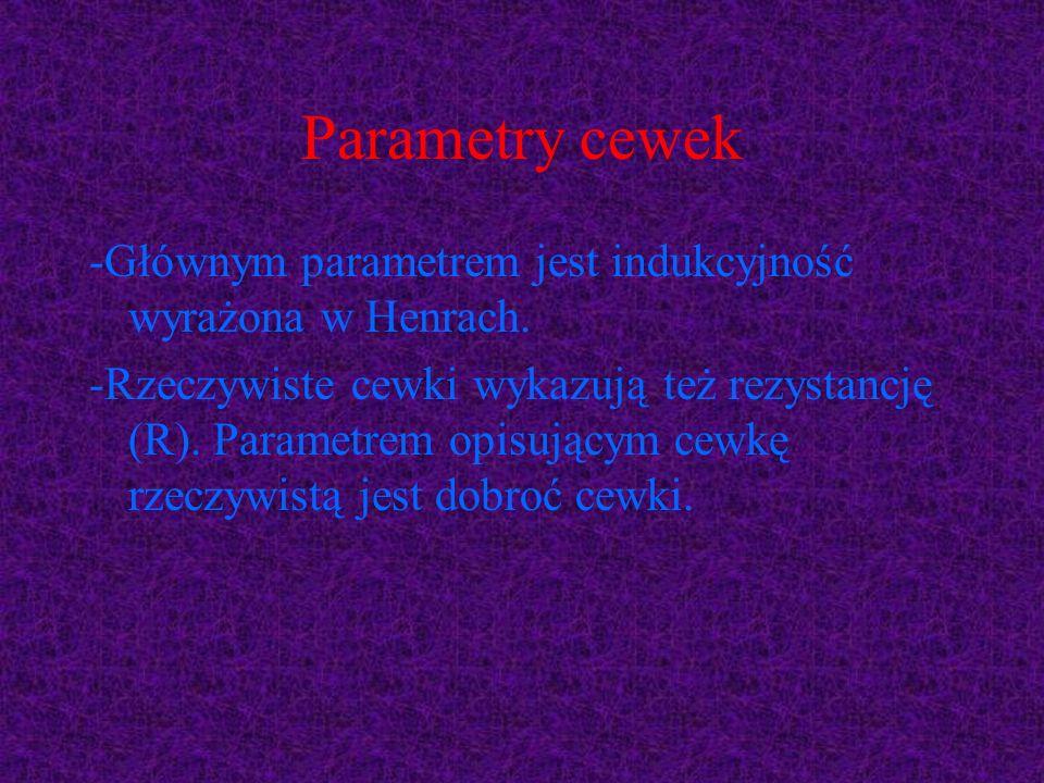 Parametry cewek -Głównym parametrem jest indukcyjność wyrażona w Henrach. -Rzeczywiste cewki wykazują też rezystancję (R). Parametrem opisującym cewkę