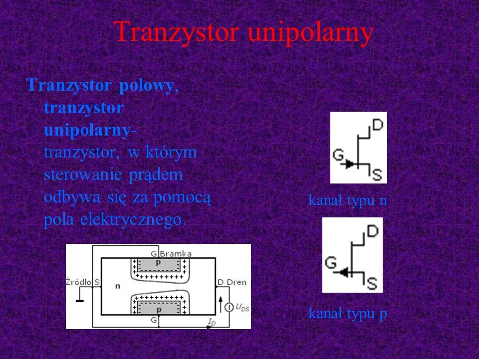 Tranzystor unipolarny Tranzystor polowy, tranzystor unipolarny- tranzystor, w którym sterowanie prądem odbywa się za pomocą pola elektrycznego. kanał