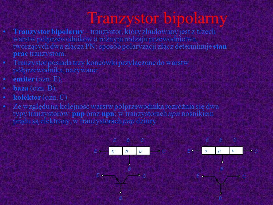 Tranzystor bipolarny Tranzystor bipolarny – tranzystor, który zbudowany jest z trzech warstw półprzewodników o różnym rodzaju przewodnictwa, tworzącyc