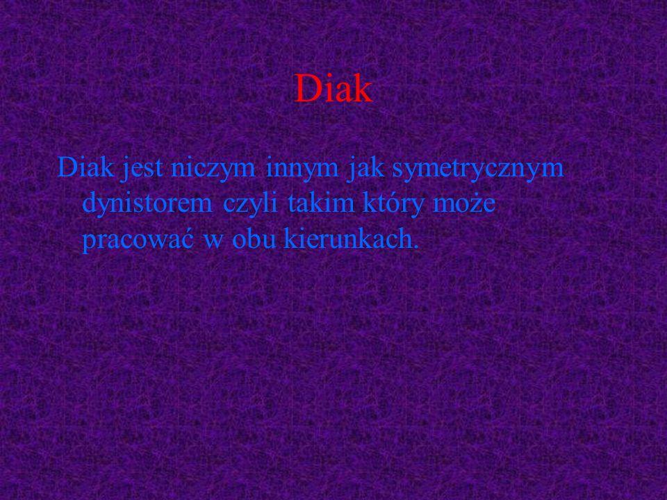 Diak Diak jest niczym innym jak symetrycznym dynistorem czyli takim który może pracować w obu kierunkach.
