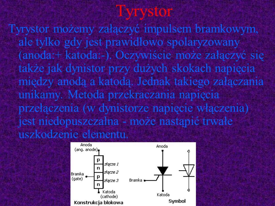 Tyrystor Tyrystor możemy załączyć impulsem bramkowym, ale tylko gdy jest prawidłowo spolaryzowany (anoda:+ katoda:-). Oczywiście może załączyć się tak