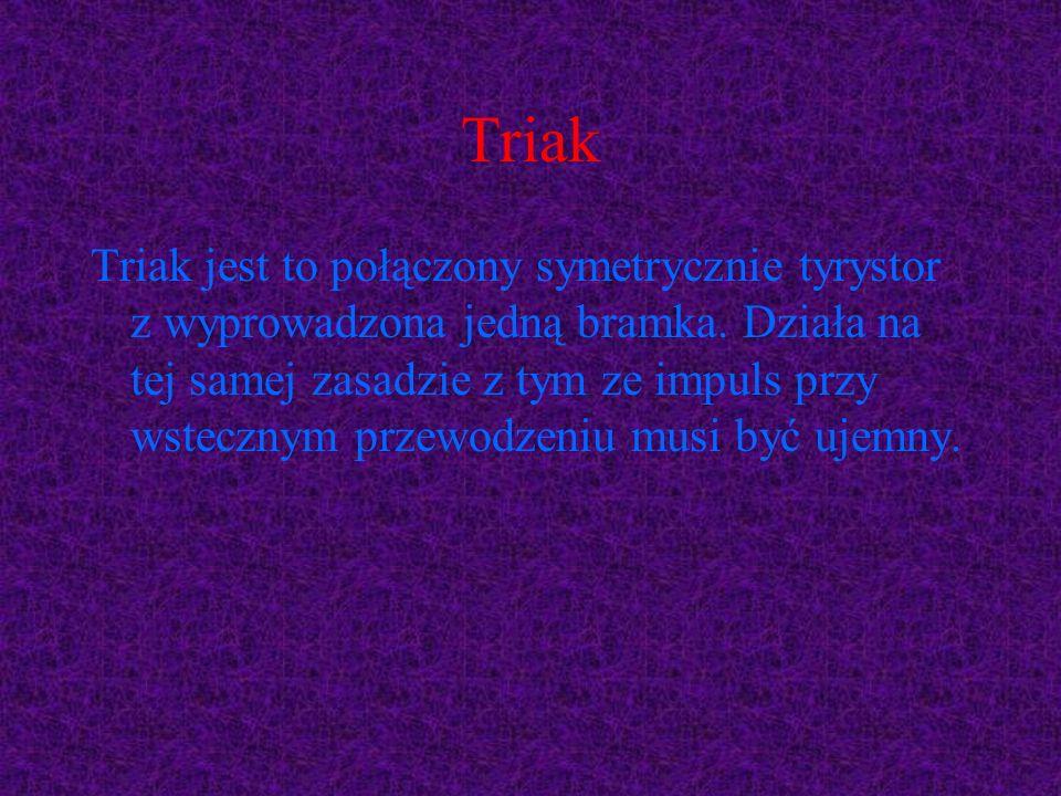 Triak Triak jest to połączony symetrycznie tyrystor z wyprowadzona jedną bramka. Działa na tej samej zasadzie z tym ze impuls przy wstecznym przewodze
