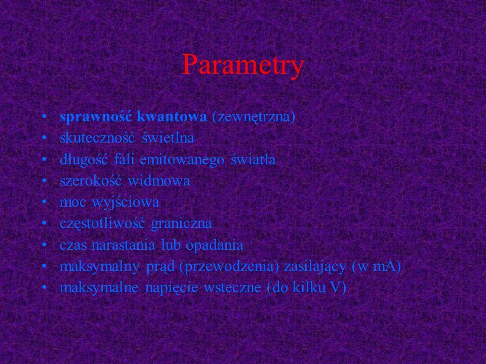 Parametry sprawność kwantowa (zewnętrzna) skuteczność świetlna długość fali emitowanego światła szerokość widmowa moc wyjściowa częstotliwość graniczn