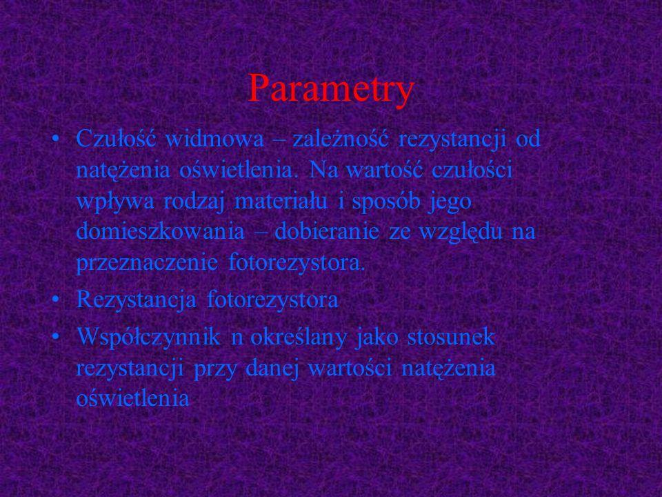 Parametry Czułość widmowa – zależność rezystancji od natężenia oświetlenia. Na wartość czułości wpływa rodzaj materiału i sposób jego domieszkowania –