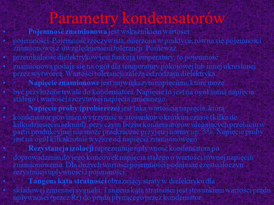 Parametry kondensatorów · Pojemność znamionowa jest wskaźnikiem wartości pojemności. Pojemność rzeczywista, mierzona w praktyce, równa się pojemności