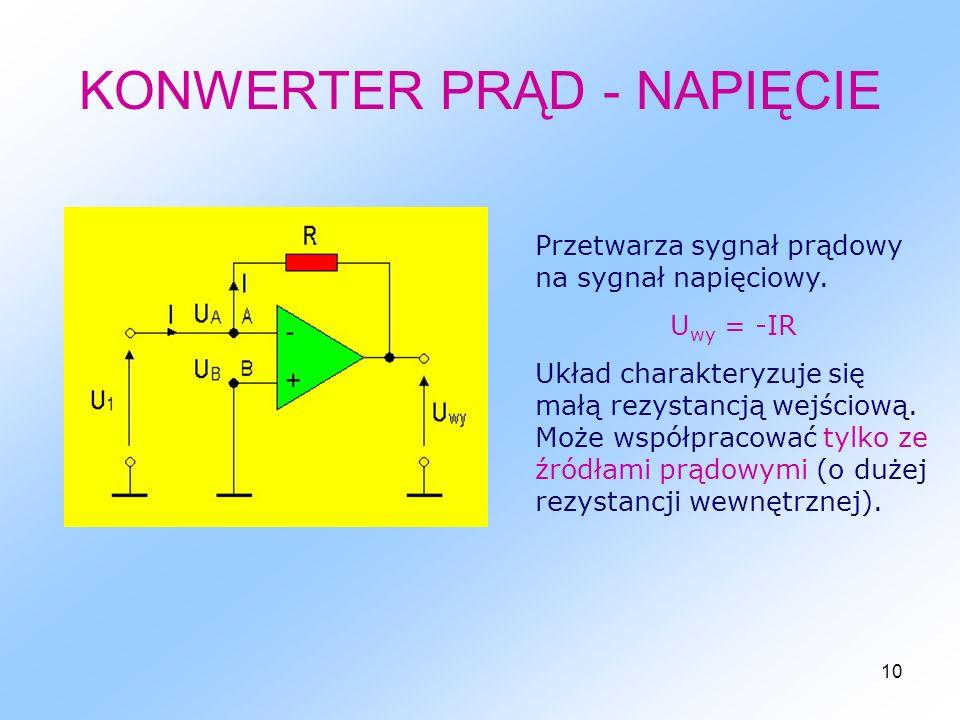 10 KONWERTER PRĄD - NAPIĘCIE Przetwarza sygnał prądowy na sygnał napięciowy.