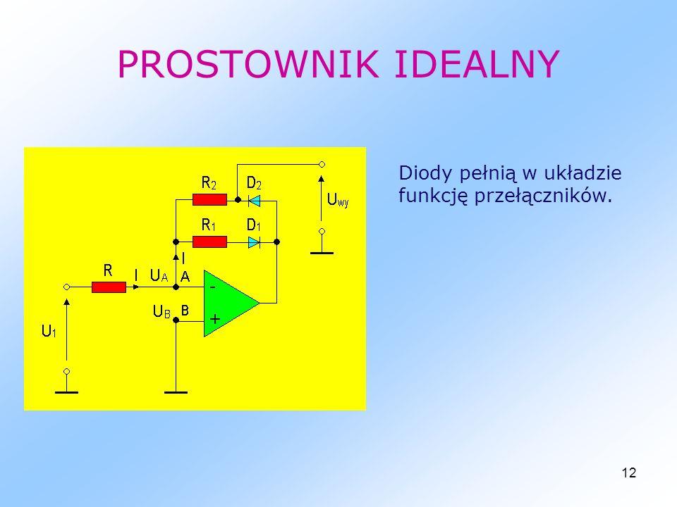 12 PROSTOWNIK IDEALNY Diody pełnią w układzie funkcję przełączników.