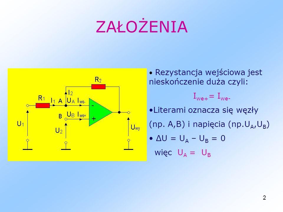 3 WZMACNIACZ ODWRACAJĄCY I 1 = I 2 U A = U B = 0 I 1 = (U 1 -U A )/R 1 I 2 = (U A -U wy )/R 2 Ponieważ I 1 = I 2 U wy = -(R 2 /R 1 )U 1 Wzmocnienie napięciowe układu K u = -R 2 /R 1 - oznacza odwrócenie napięcia wyjściowego względem wejściowego