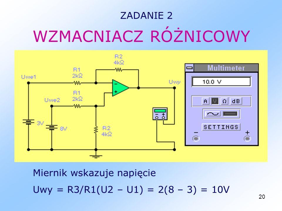 20 WZMACNIACZ RÓŻNICOWY ZADANIE 2 Miernik wskazuje napięcie Uwy = R3/R1(U2 – U1) = 2(8 – 3) = 10V