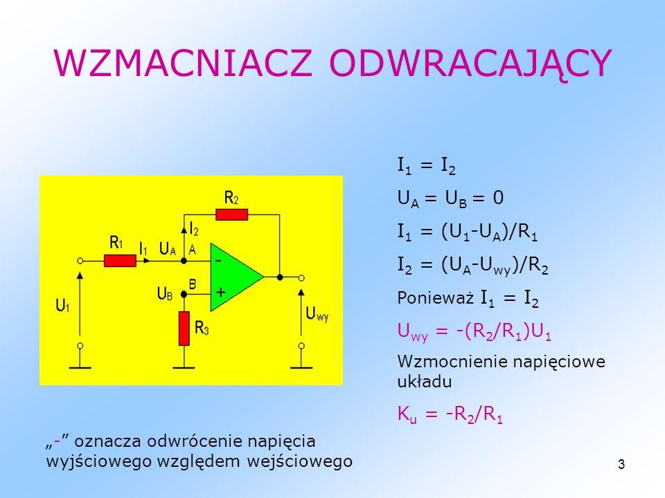 4 WZMACNIACZ NIEODWRACAJĄCY I 1 = I 2 U B = U 1 = U A U 1 /R 1 = (U wy – U 1 )/R 2 K u = U wy /U 1 = (R 1 +R 2 )/R 1 Ku = 1 + R 2 /R 1