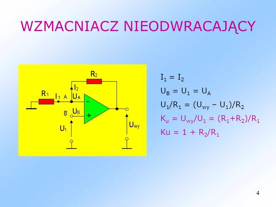 5 WZMACNIACZ SUMUJĄCY U A = U B = 0 I 1 + I 2 + I 3 +…+I N = I U wy =-R(U 1 /R 1 +U 2 /R 2 +…+U N /R N )