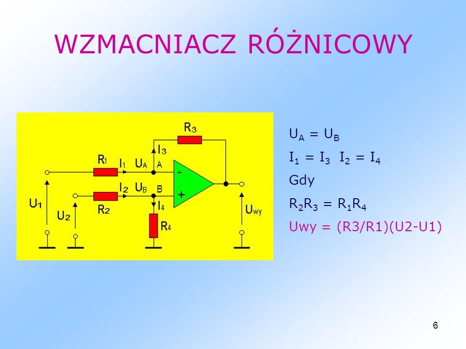 6 WZMACNIACZ RÓŻNICOWY U A = U B I 1 = I 3 I 2 = I 4 Gdy R 2 R 3 = R 1 R 4 Uwy = (R3/R1)(U2-U1)