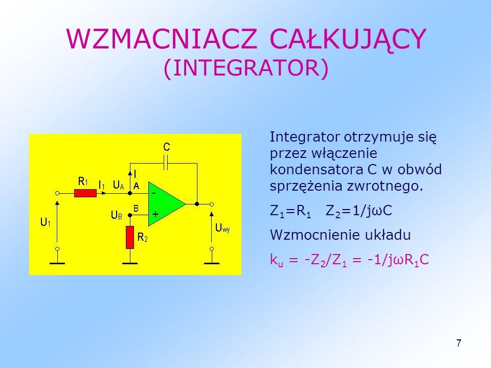 8 WZMACNIACZ RÓŻNICZKUJĄCY Wzmacniacz różniczkujący otrzymuje się przez włączenie na wejście odwracające kondensatora C.