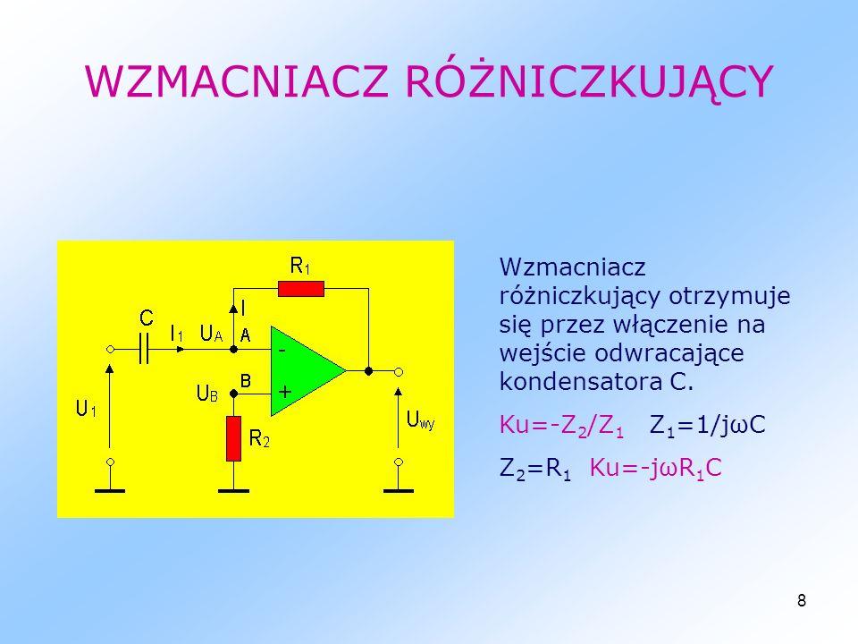 19 WZMACNIACZ ODWRACAJĄCY Ku = -R2/R1 = -2V/V Uwy = ku*Uwe = -2*4 = -8V ZADANIE 1