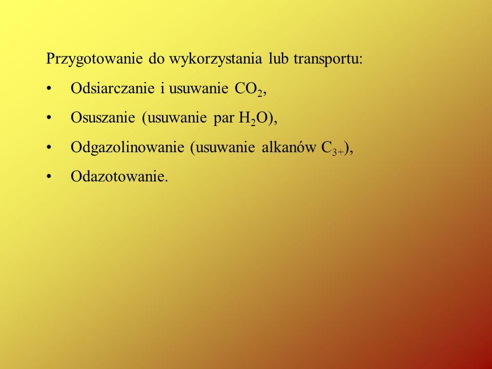 Przygotowanie do wykorzystania lub transportu: Odsiarczanie i usuwanie CO 2, Osuszanie (usuwanie par H 2 O), Odgazolinowanie (usuwanie alkanów C 3+ ),