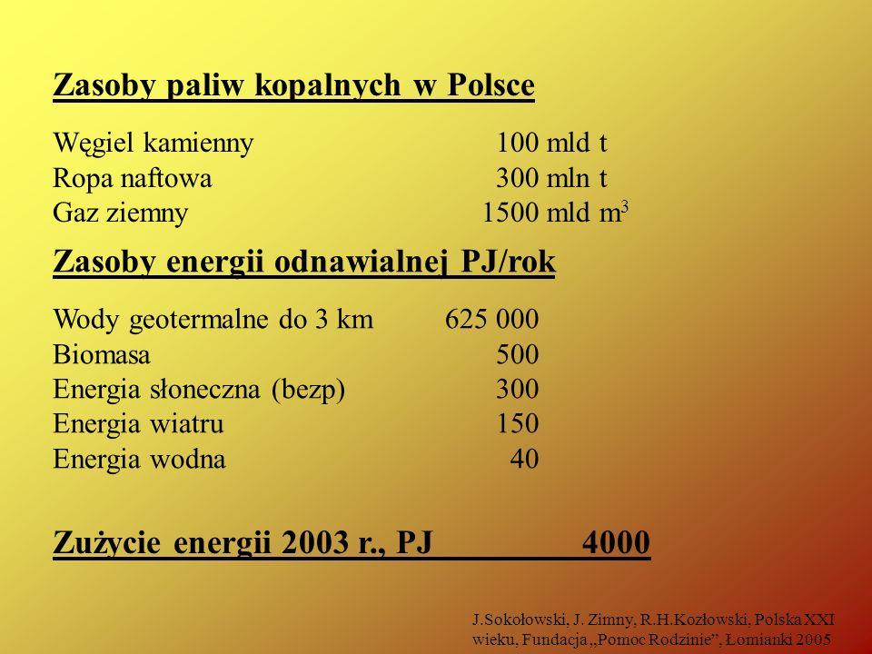 Zasoby paliw kopalnych w Polsce Węgiel kamienny 100 mld t Ropa naftowa 300 mln t Gaz ziemny 1500 mld m 3 Zasoby energii odnawialnej PJ/rok Wody geoter