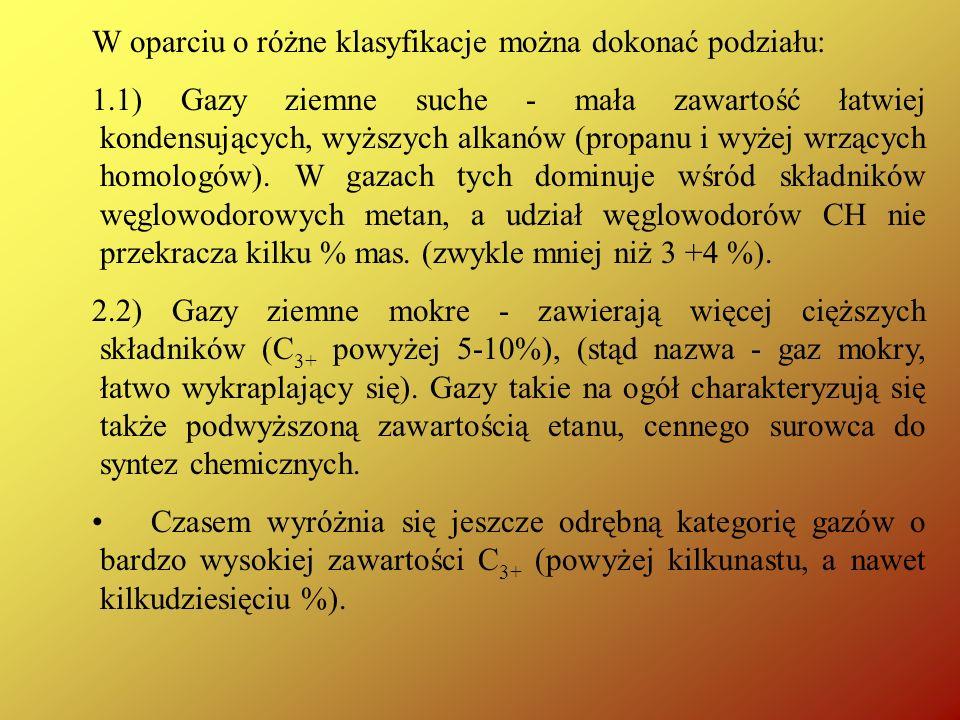 W oparciu o różne klasyfikacje można dokonać podziału: 1.1) Gazy ziemne suche - mała zawartość łatwiej kondensujących, wyższych alkanów (propanu i wyż
