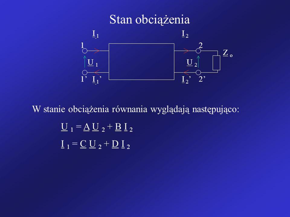 Stan obciążenia I 1I 1 I 2 I 1 I 2 12 12 U 1U 1 U 2U 2 Z oZ o W stanie obciążenia równania wyglądają następująco: U 1 = A U 2 + B I 2 I 1 = C U 2 + D