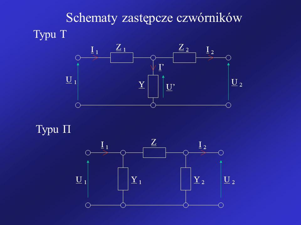 Schematy zastępcze czwórników U 1U 1 U 1U 1 U 2U 2 U 2U 2 I 1I 1 I 2I 2 I 1I 1 I 2I 2 I Z 1Z 1 Z 2Z 2 Z Y 1Y 1 Y 2Y 2 Y U Typu T Typu Π