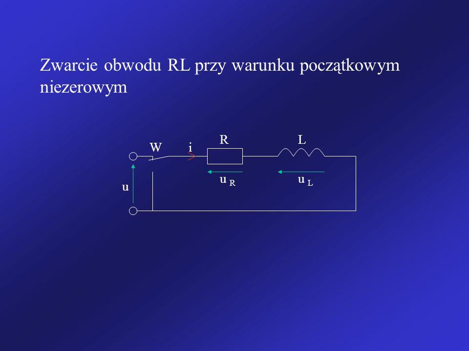 Zwarcie obwodu RL przy warunku początkowym niezerowym u i u R u L RL W